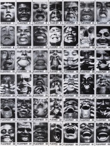 """George Maciunas Fluxpost (""smile"" stamps), 1977-78, perforated and gummed paper, 11 x 8 1/2"""""