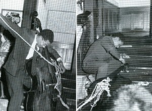 "Benjamin Patterson performing Solo For Double Bass at the first Fluxus concert, ""Apres john Cage,"" Galerie Pamass, Wuppertal, West Germany, June 9, 1962. Courtesy The Gilbert and Lila Silverman Fluxus Collection Foundation."